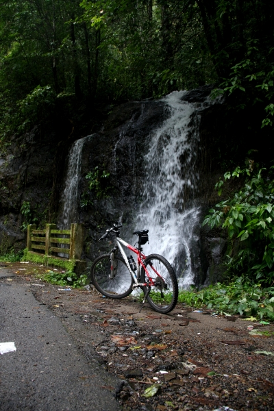 And water falls on the road side, and their ear soothing sound all along